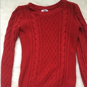 Old Navy cable knit sweater, red, extra small